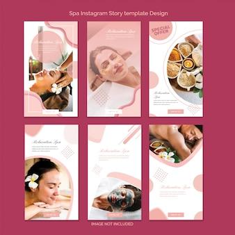 Conjunto de design de modelo de história de instagram com tema de spa, banner de venda vertical