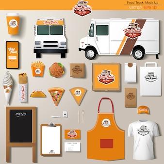 Conjunto de design de modelo de identidade corporativa de caminhão de alimentos. modelo de marca.