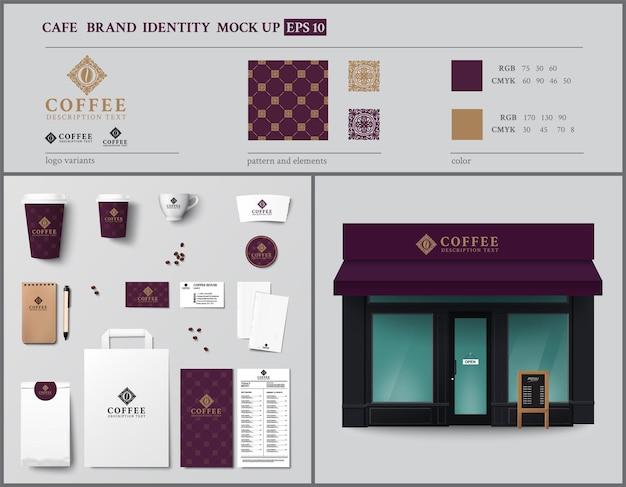 Conjunto de design de modelo de identidade de marca café e vitrine ilustração em vetor estilo vintage