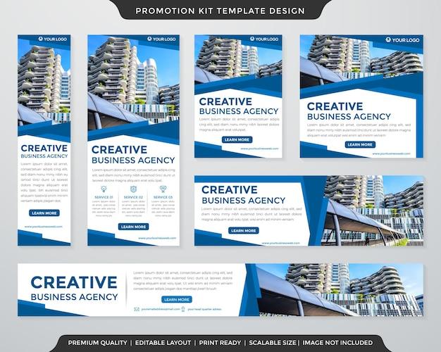 Conjunto de design de modelo de kit de promoção de banner comercial com layout moderno