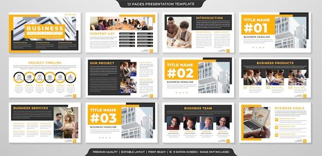 Conjunto de design de modelo de layout de apresentação