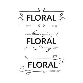 Conjunto de design de modelo de logotipo floral mínimo desenhado à mão