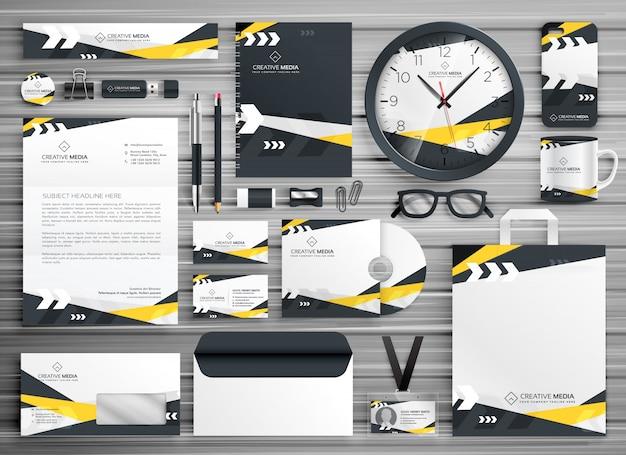 Conjunto de design de modelo de papelaria de identidade corporativa com formas abstratas amarelas abstratas