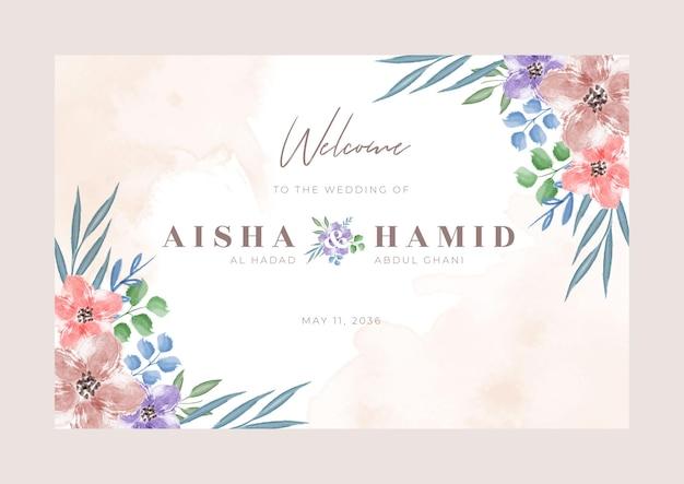 Conjunto de design de modelo de sinal de boas-vindas para casamento floral em aquarela
