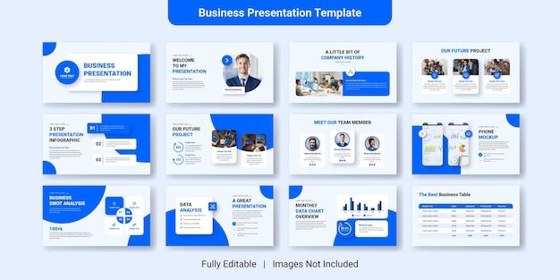 Conjunto de design de modelo de slide de apresentação criativa de negócios