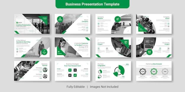 Conjunto de design de modelo de slide de apresentação de negócios criativos