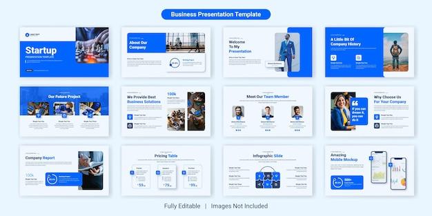 Conjunto de design de modelo de slide de apresentação de negócios para startups