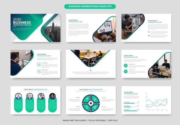 Conjunto de design de modelo de slide de apresentação de powerpoint de negócios criativos
