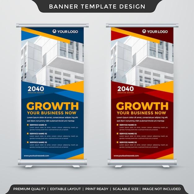 Conjunto de design de modelo de stand banne com uso de estilo abstrato para exibição de promoção