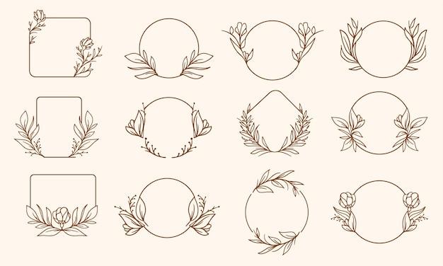 Conjunto de design de moldura floral simples desenhada à mão
