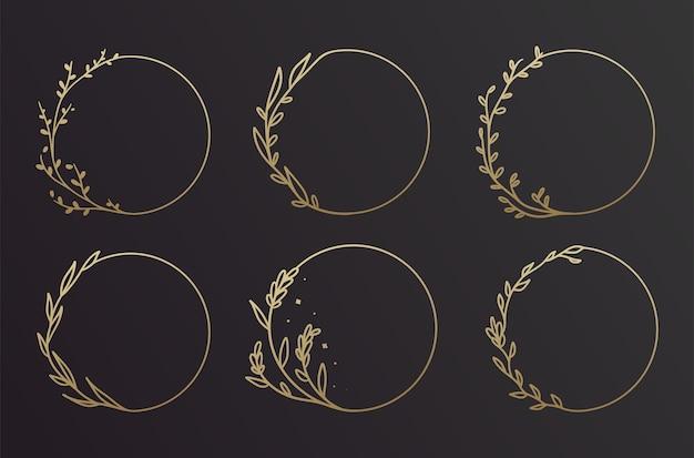 Conjunto de design de moldura floral simples preto e dourado desenhado à mão