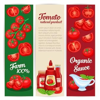 Conjunto de design de molho de tomate de banners.