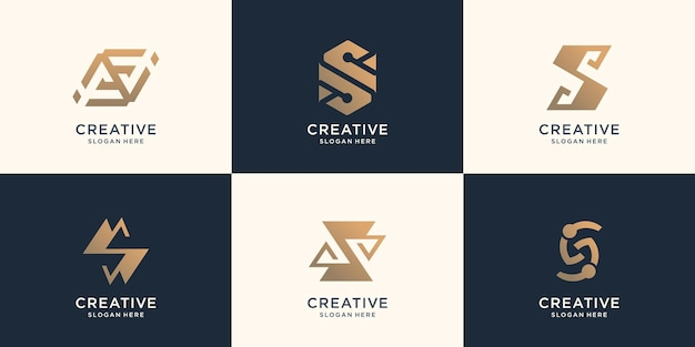 Conjunto de design de monograma do logotipo da coleção. ícones para negócios de conceito luxuoso, elegante e abstrato.