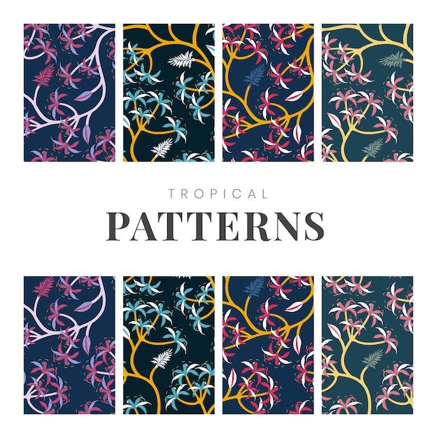 Conjunto de design de padrão de folha de natureza