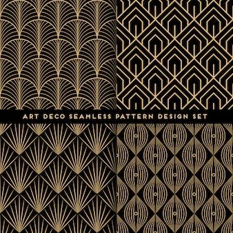 Conjunto de design de padrão sem costura art déco