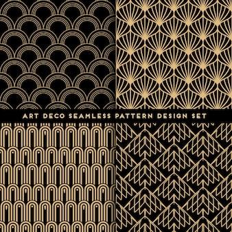 Conjunto de design de padrão sem emenda em estilo art déco