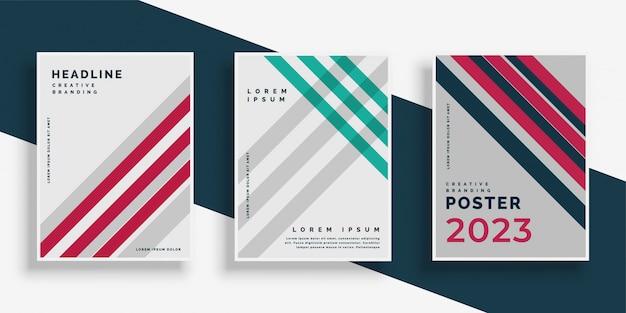 Conjunto de design de página de capa de listras abstratas