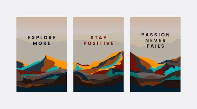 Conjunto de design de paisagem de montanha
