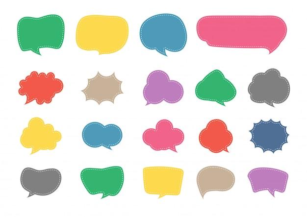 Conjunto de design de papel de corte de bolha discurso