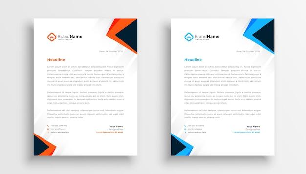 Conjunto de design de papel timbrado simples de dois em estilo geométrico