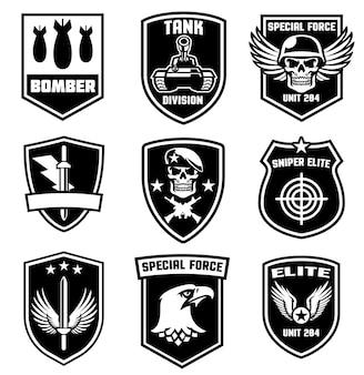 Conjunto de design de patches militares