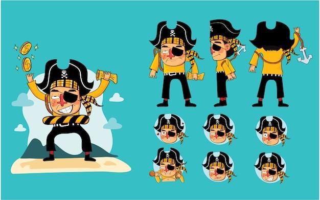 Conjunto de design de personagem de desenho animado pirata