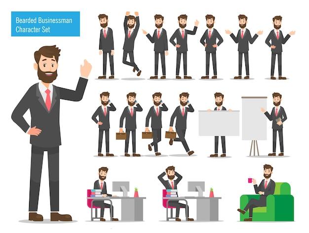 Conjunto de design de personagem de homem de negócios barbudo