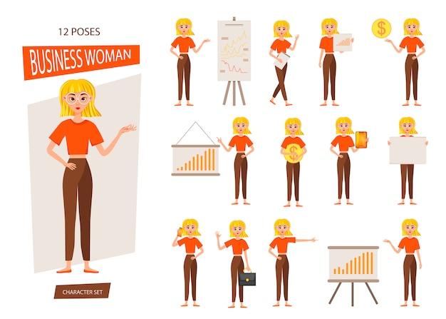 Conjunto de design de personagem de trabalho de empresária. a garota mostra no gráfico de desenvolvimento. 12 poses de ilustração vetorial.