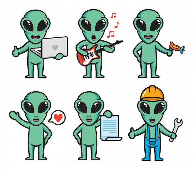 Conjunto de design de personagens alienígenas