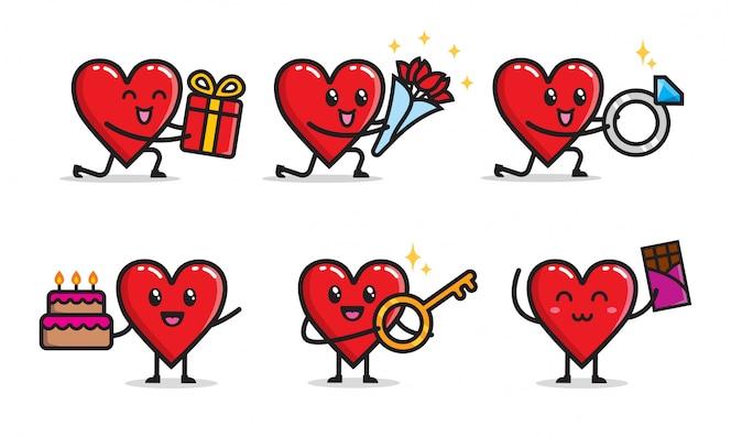 Conjunto de design de personagens de amor romântico