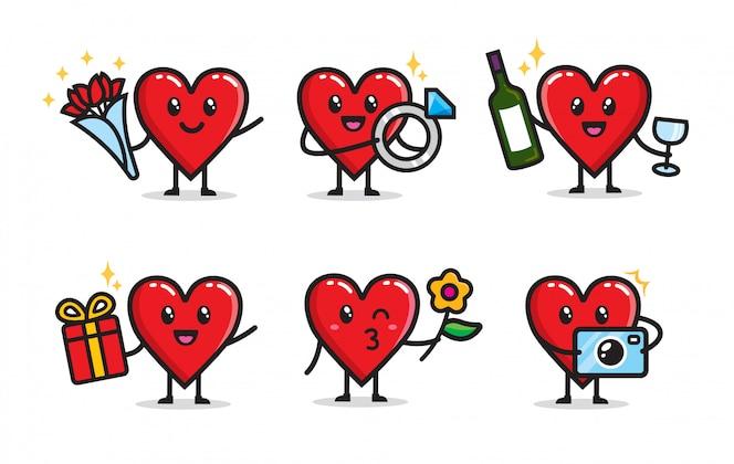 Conjunto de design de personagens de amor