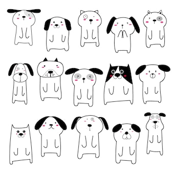 Conjunto de design de personagens de cachorro bonito. ilustração.