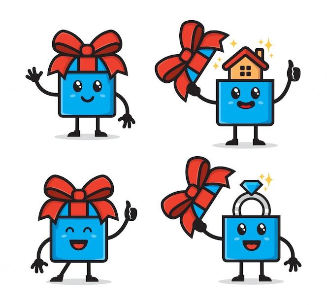 Conjunto de design de personagens de caixa de presente