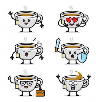 Conjunto de design de personagens de chá