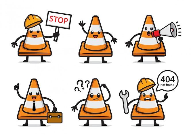 Conjunto de design de personagens de cone de tráfego