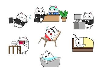 Conjunto de design de personagens de desenhos animados gato bonito executando, reunião, trabalhando, comendo, banho, sono.