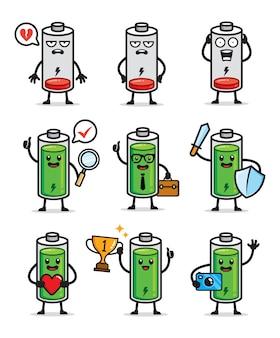 Conjunto de design de personagens de duração da bateria