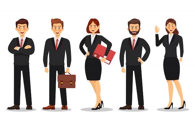 Conjunto de design de personagens de empresário e mulher de negócios