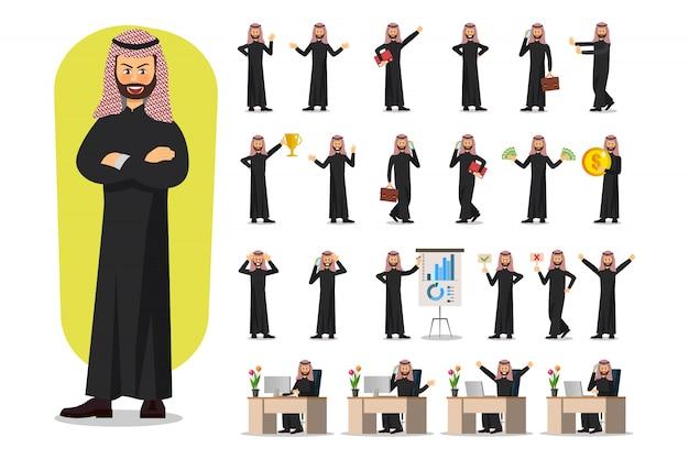 Conjunto de design de personagens de empresário