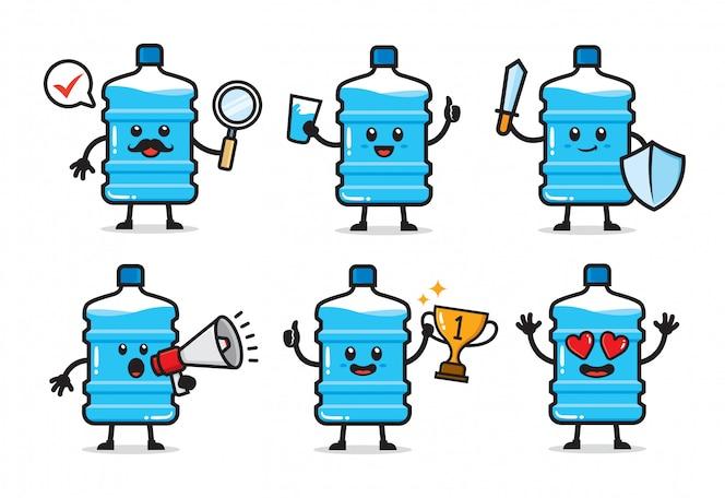 Conjunto de design de personagens de galão de água