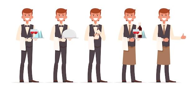 Conjunto de design de personagens de garçom
