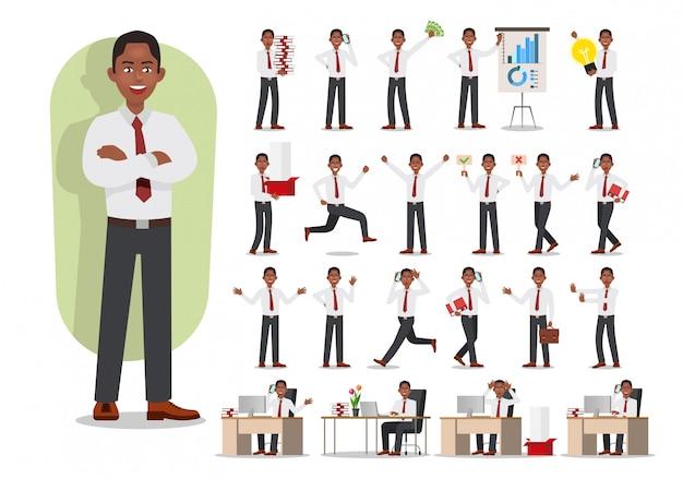 Conjunto de design de personagens de homem de negócios. homem trabalhador de escritório