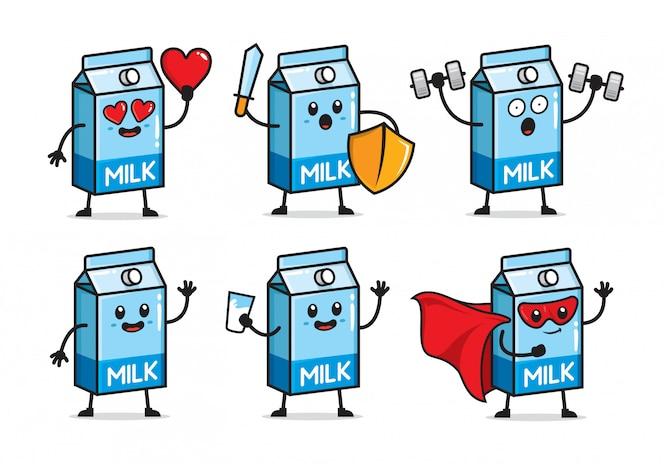 Conjunto de design de personagens de leite