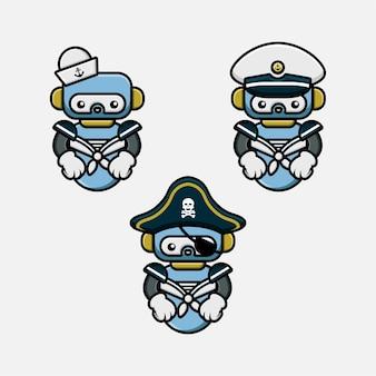 Conjunto de design de personagens de mascote robô de marinheiro e piratas fofos