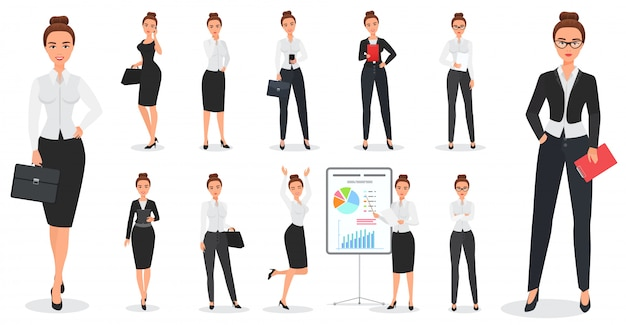 Conjunto de design de personagens de mulher de negócios bonita jovem em várias poses.