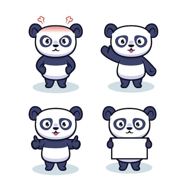 Conjunto de design de personagens de panda fofinho