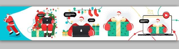 Conjunto de design de personagens de papai noel com presentes e guirlandas