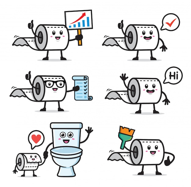 Conjunto de design de personagens de papel higiênico