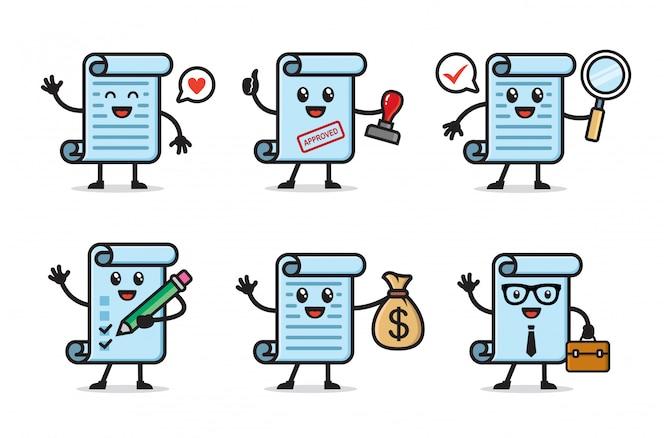 Conjunto de design de personagens de papel