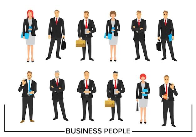 Conjunto de design de personagens de pessoas de negócios